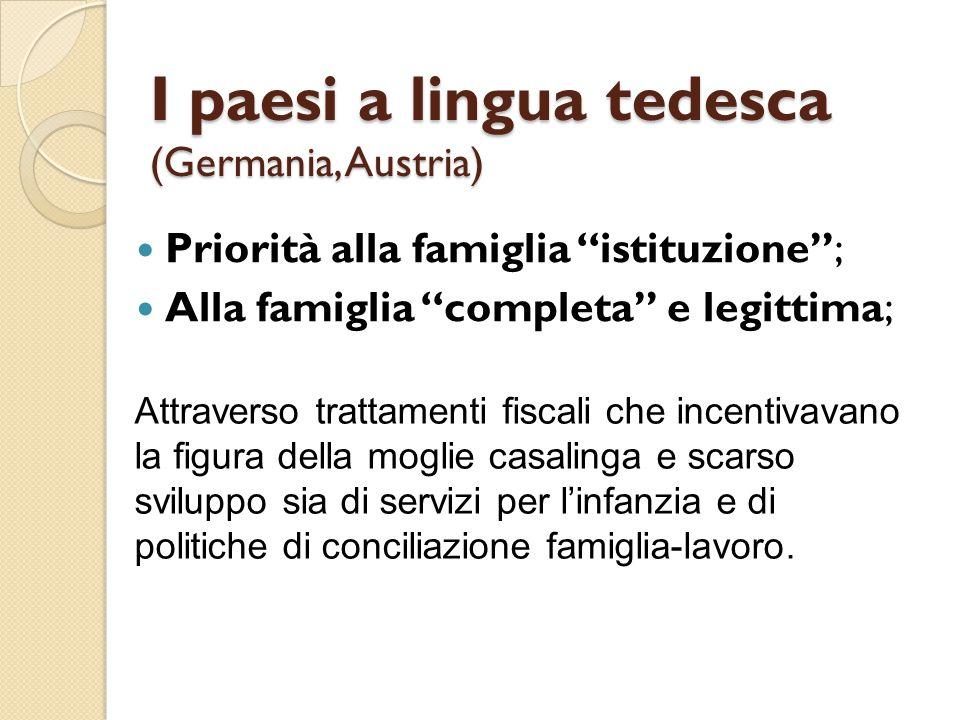 """I paesi a lingua tedesca (Germania, Austria) Priorità alla famiglia """"istituzione""""; Alla famiglia """"completa"""" e legittima; Attraverso trattamenti fiscal"""
