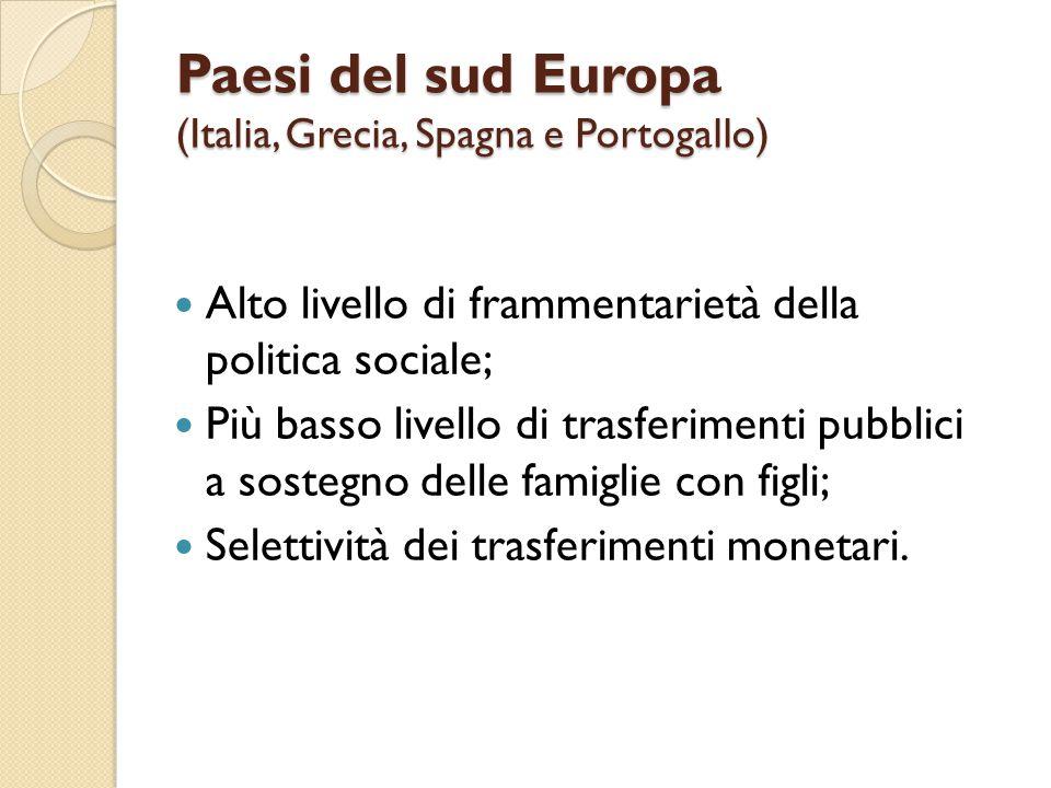 Paesi del sud Europa (Italia, Grecia, Spagna e Portogallo) Alto livello di frammentarietà della politica sociale; Più basso livello di trasferimenti p
