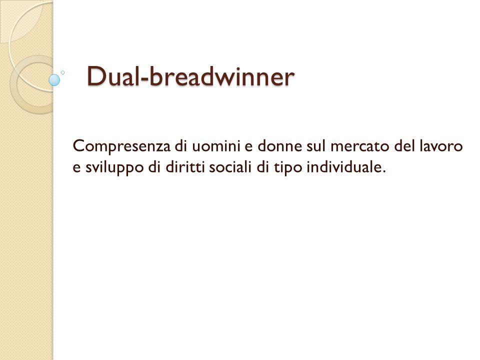 Dual-breadwinner Compresenza di uomini e donne sul mercato del lavoro e sviluppo di diritti sociali di tipo individuale.