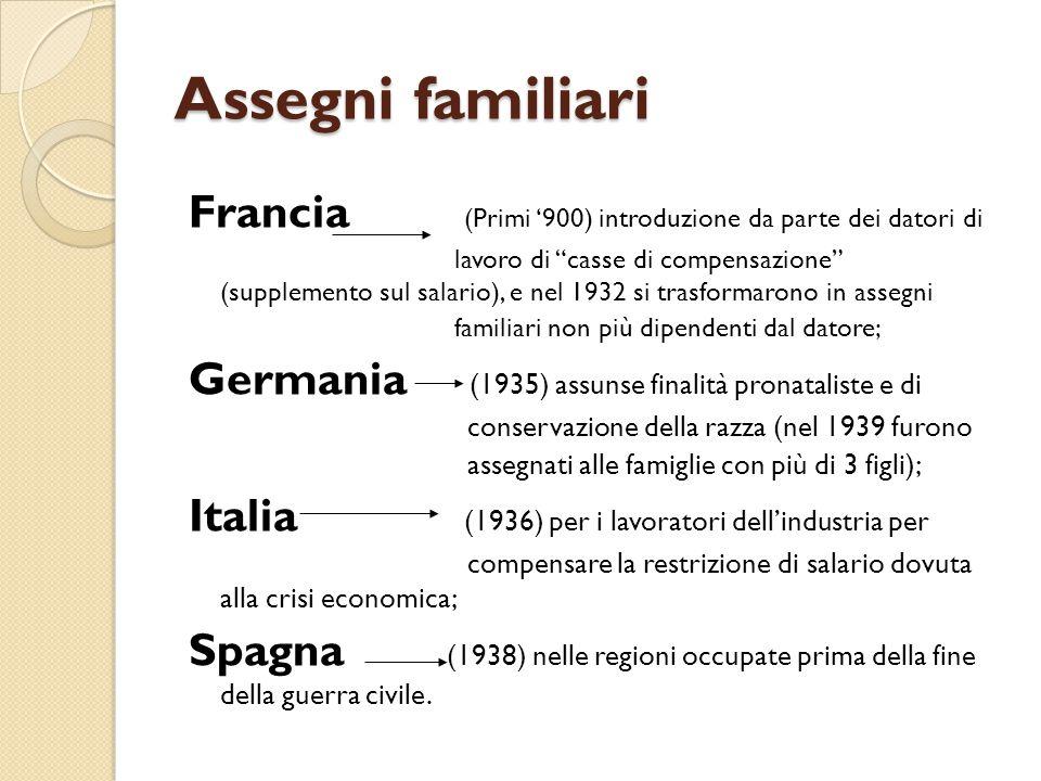 """Assegni familiari Francia (Primi '900) introduzione da parte dei datori di lavoro di """"casse di compensazione"""" (supplemento sul salario), e nel 1932 si"""