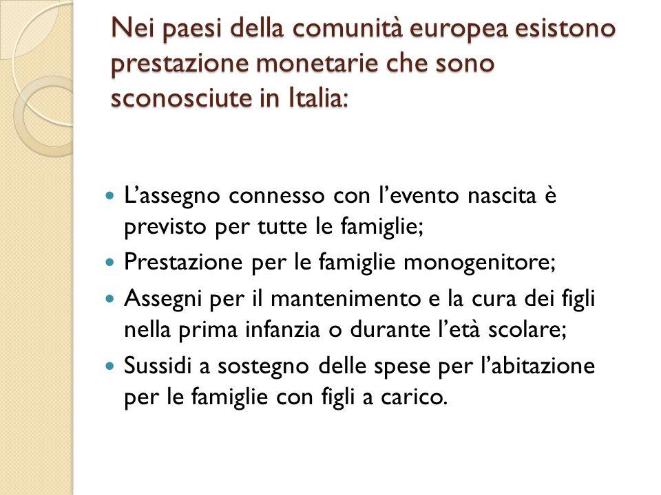 Nei paesi della comunità europea esistono prestazione monetarie che sono sconosciute in Italia: L'assegno connesso con l'evento nascita è previsto per