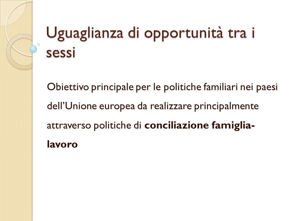 Uguaglianza di opportunità tra i sessi Obiettivo principale per le politiche familiari nei paesi dell'Unione europea da realizzare principalmente attr