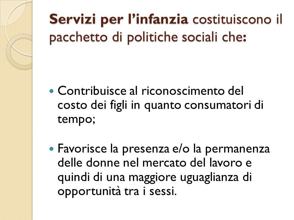 Servizi per l'infanzia costituiscono il pacchetto di politiche sociali che: Contribuisce al riconoscimento del costo dei figli in quanto consumatori d