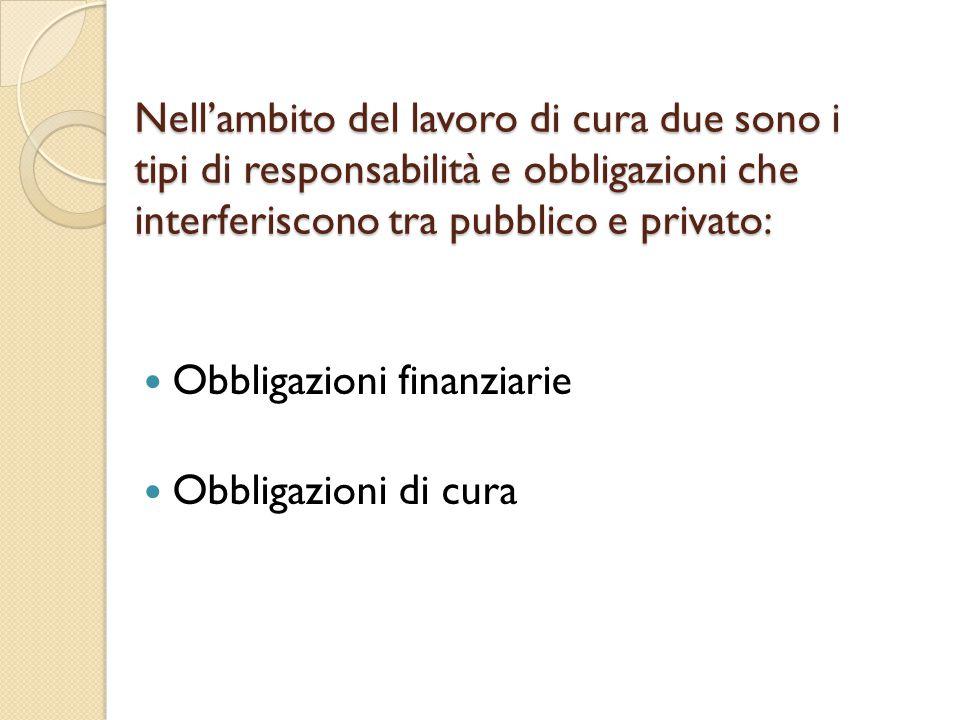 Nell'ambito del lavoro di cura due sono i tipi di responsabilità e obbligazioni che interferiscono tra pubblico e privato: Obbligazioni finanziarie Ob