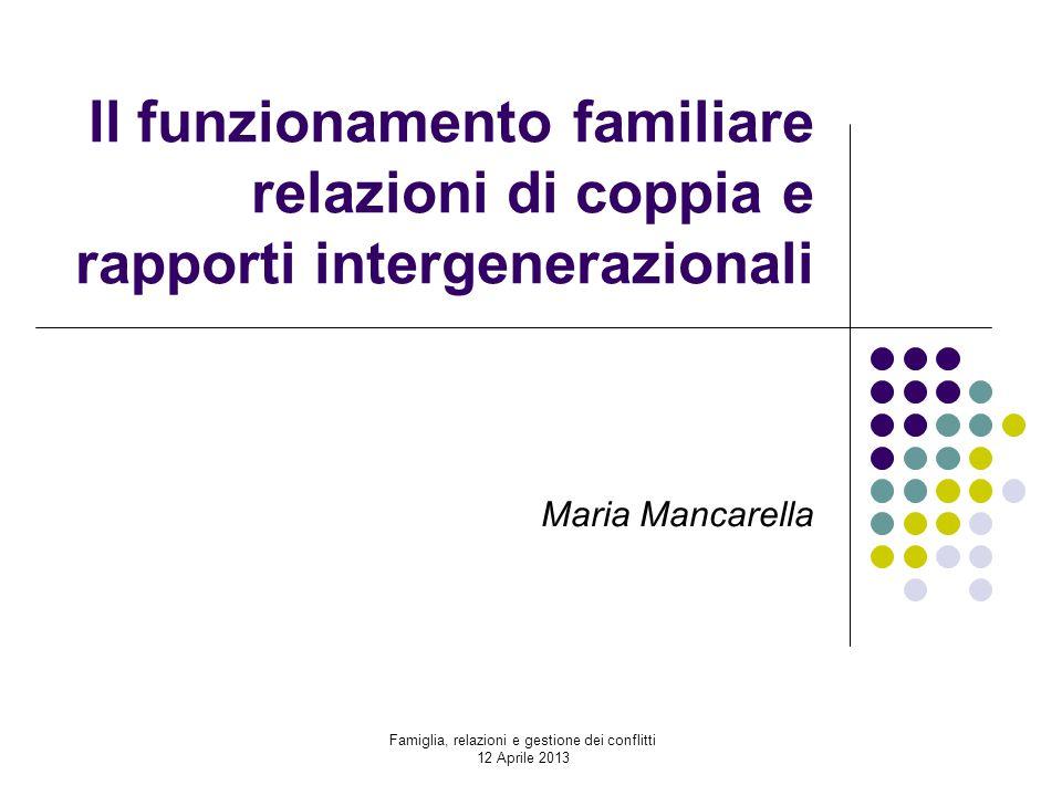 Il funzionamento familiare relazioni di coppia e rapporti intergenerazionali Maria Mancarella Famiglia, relazioni e gestione dei conflitti 12 Aprile 2