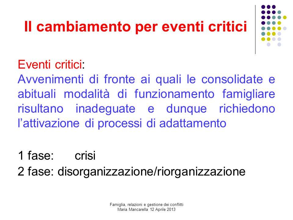 Il cambiamento per eventi critici Eventi critici: Avvenimenti di fronte ai quali le consolidate e abituali modalità di funzionamento famigliare risult