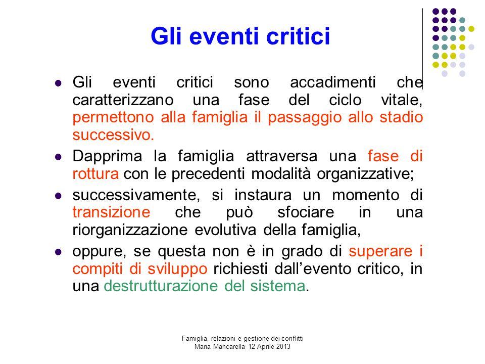 Gli eventi critici Gli eventi critici sono accadimenti che caratterizzano una fase del ciclo vitale, permettono alla famiglia il passaggio allo stadio