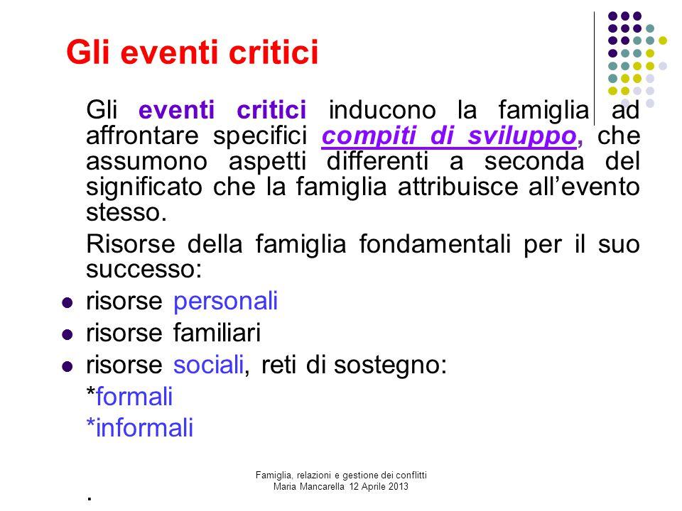Gli eventi critici Gli eventi critici inducono la famiglia ad affrontare specifici compiti di sviluppo, che assumono aspetti differenti a seconda del