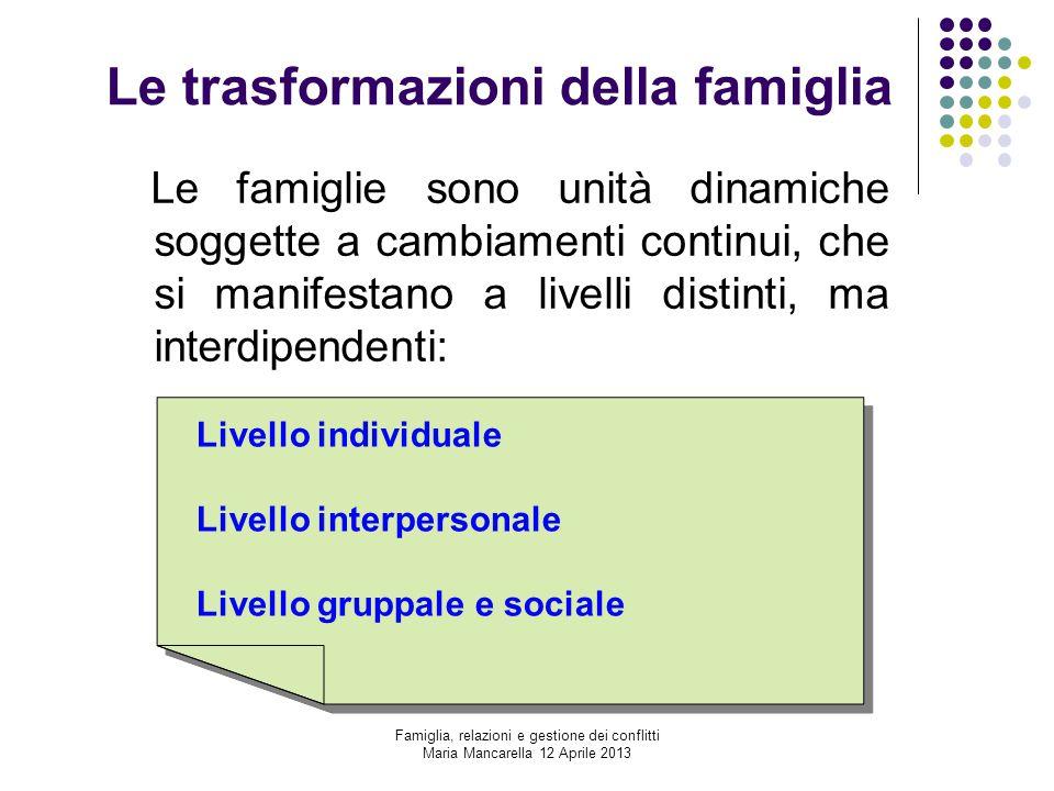 Le trasformazioni della famiglia Le famiglie sono unità dinamiche soggette a cambiamenti continui, che si manifestano a livelli distinti, ma interdipe