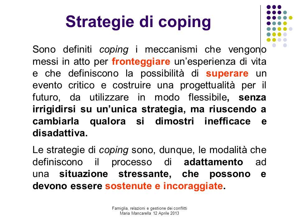 Strategie di coping Sono definiti coping i meccanismi che vengono messi in atto per fronteggiare un'esperienza di vita e che definiscono la possibilit