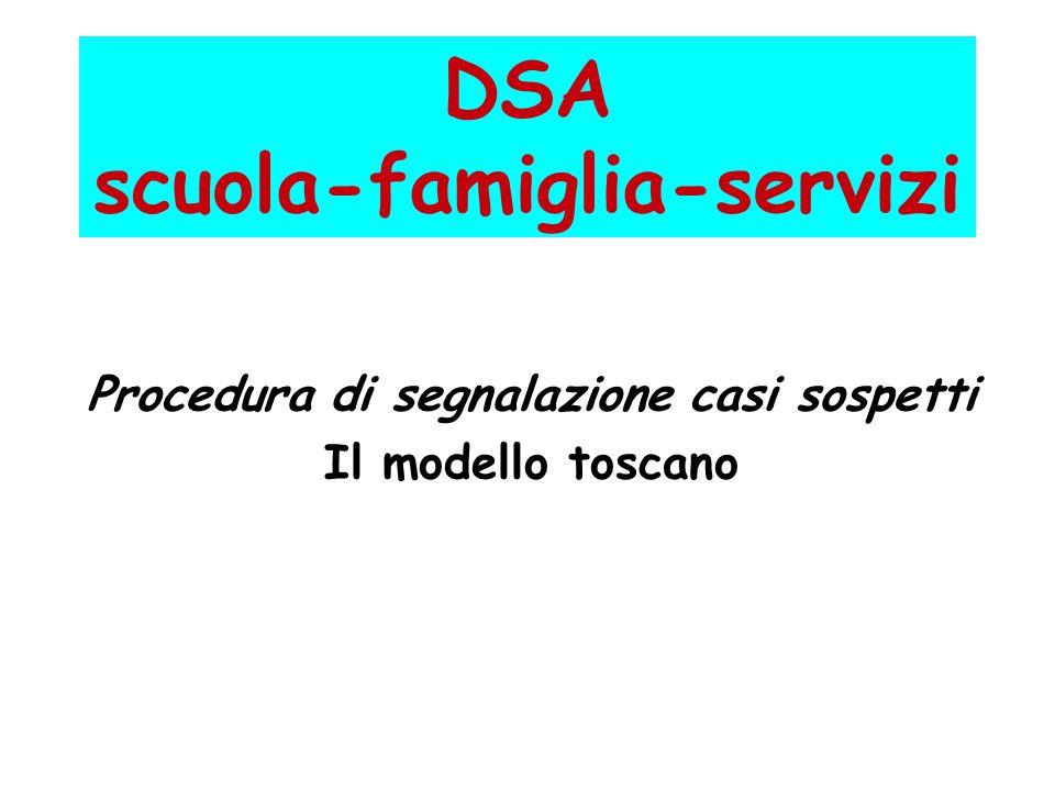 DSA scuola-famiglia-servizi Procedura di segnalazione casi sospetti Il modello toscano