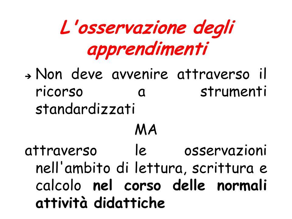 L'osservazione degli apprendimenti  Non deve avvenire attraverso il ricorso a strumenti standardizzati MA attraverso le osservazioni nell'ambito di l