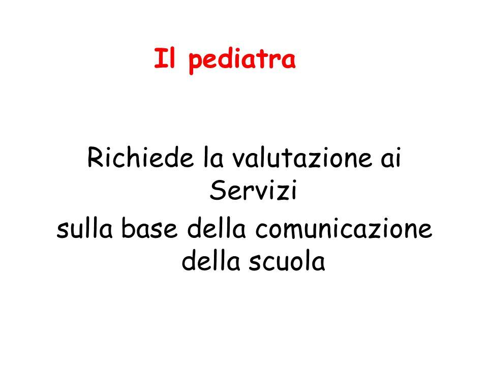 Il pediatra Richiede la valutazione ai Servizi sulla base della comunicazione della scuola