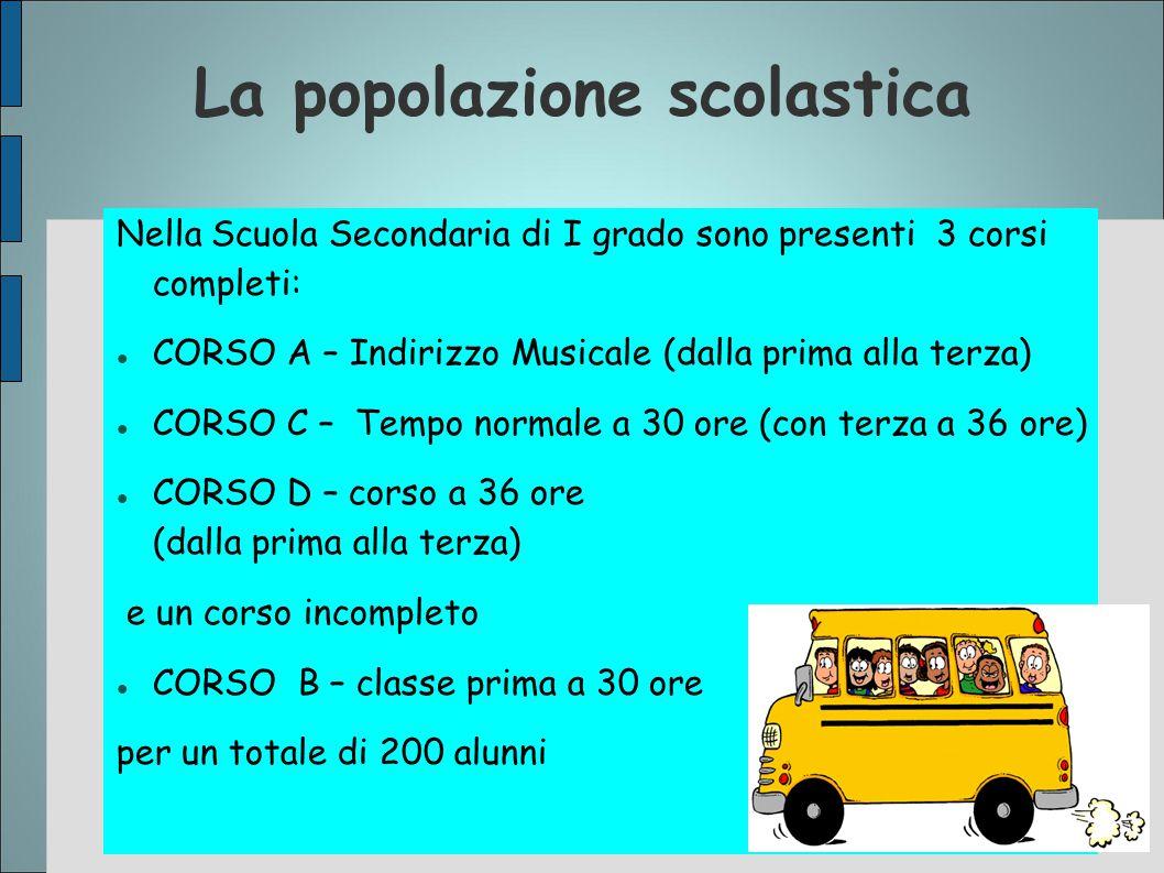 La popolazione scolastica Nella Scuola Secondaria di I grado sono presenti 3 corsi completi: CORSO A – Indirizzo Musicale (dalla prima alla terza) COR