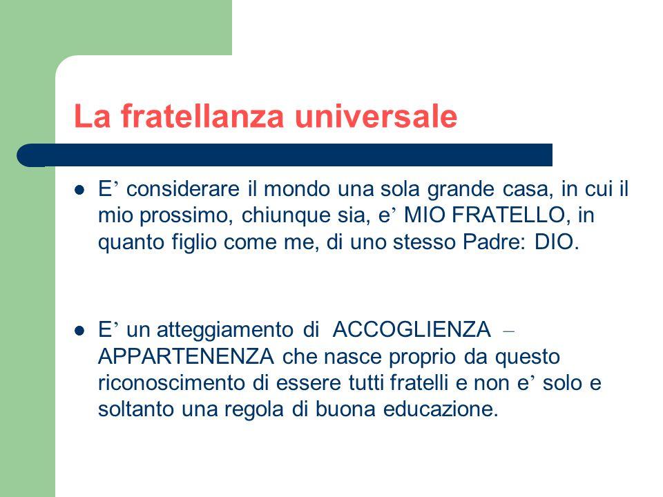 La fratellanza universale propone … La, insita in ciascuno di noi, come occasione: 1) di RICCHEZZA e ARRICCHIMENTO reciproco 2) per IMPARARE 3) per CRESCERE nella conoscenza.