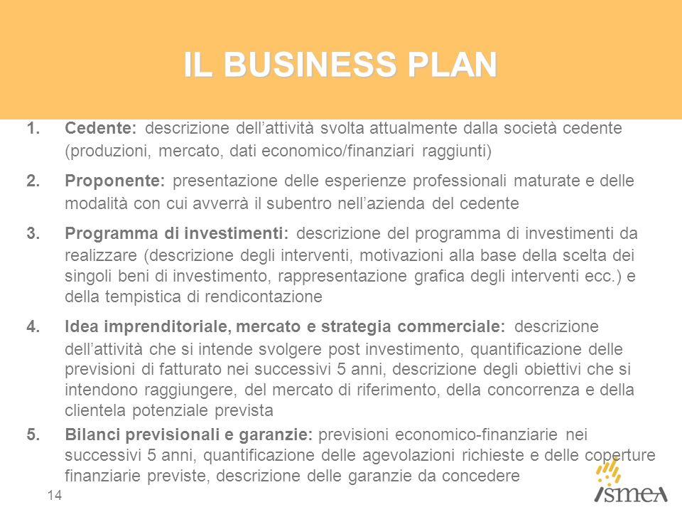 IL BUSINESS PLAN 1.Cedente: descrizione dell'attività svolta attualmente dalla società cedente (produzioni, mercato, dati economico/finanziari raggiun