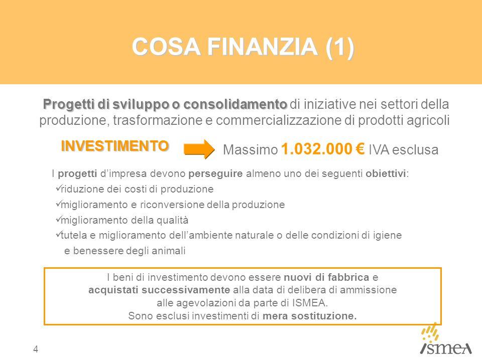 4 COSA FINANZIA (1) I beni di investimento devono essere nuovi di fabbrica e acquistati successivamente alla data di delibera di ammissione alle agevolazioni da parte di ISMEA.