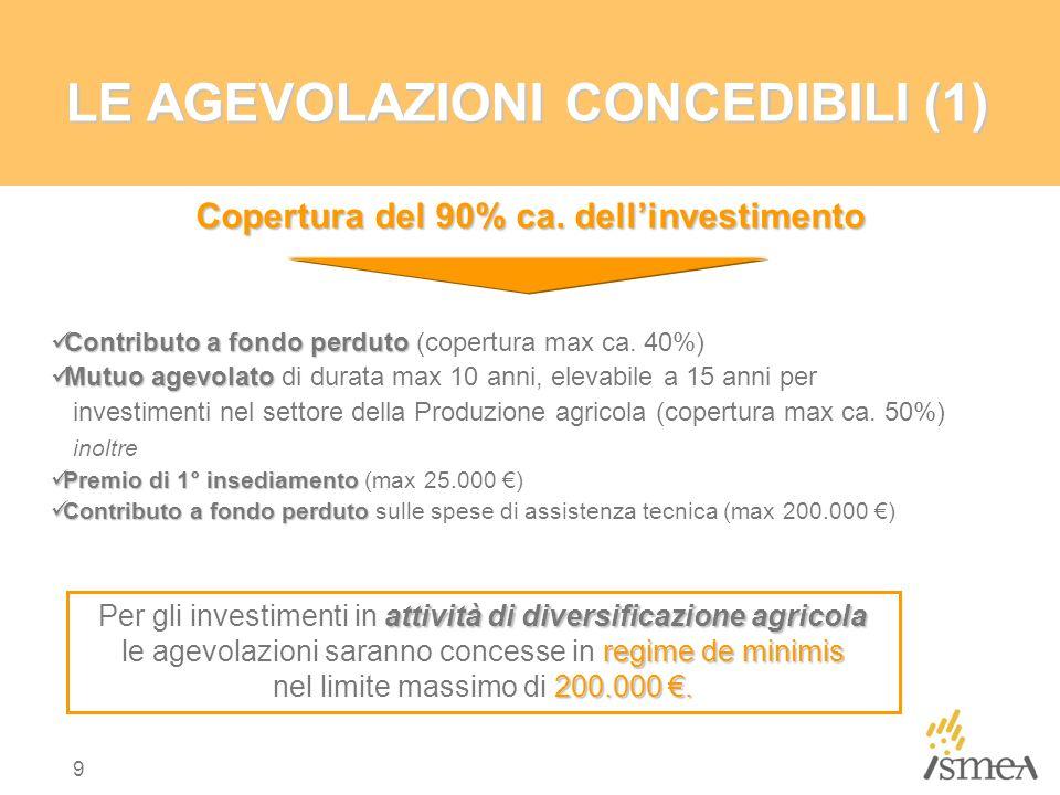 9 LE AGEVOLAZIONI CONCEDIBILI (1) Copertura del 90% ca. dell'investimento Contributo a fondo perduto Contributo a fondo perduto (copertura max ca. 40%