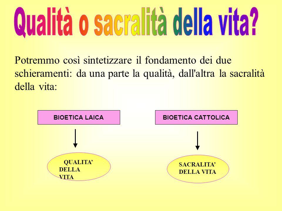 Potremmo così sintetizzare il fondamento dei due schieramenti: da una parte la qualità, dall'altra la sacralità della vita: SACRALITA' DELLA VITA BIOE