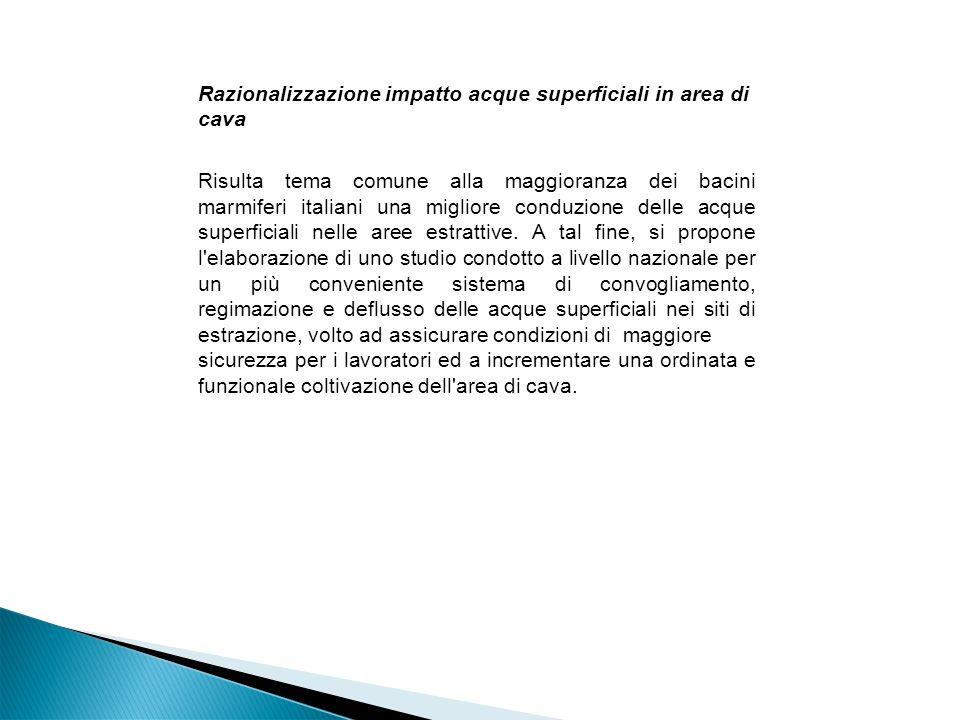 Razionalizzazione impatto acque superficiali in area di cava Risulta tema comune alla maggioranza dei bacini marmiferi italiani una migliore conduzione delle acque superficiali nelle aree estrattive.