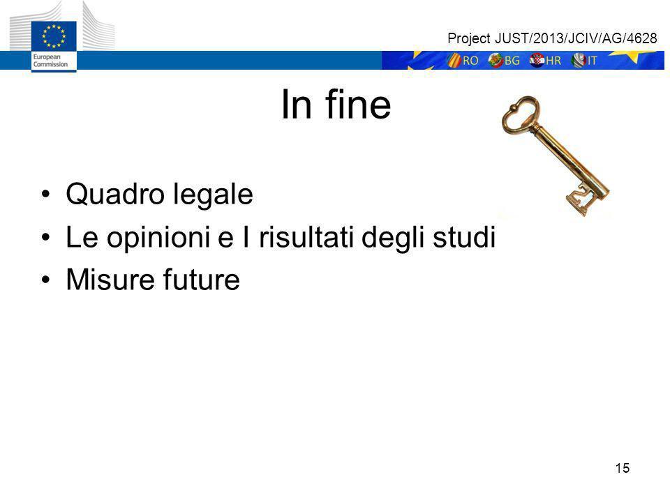 15 In fine Quadro legale Le opinioni e I risultati degli studi Misure future Project JUST/2013/JCIV/AG/4628