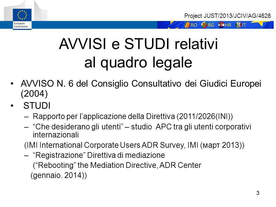 3 AVVISI e STUDI relativi al quadro legale AVVISO N.