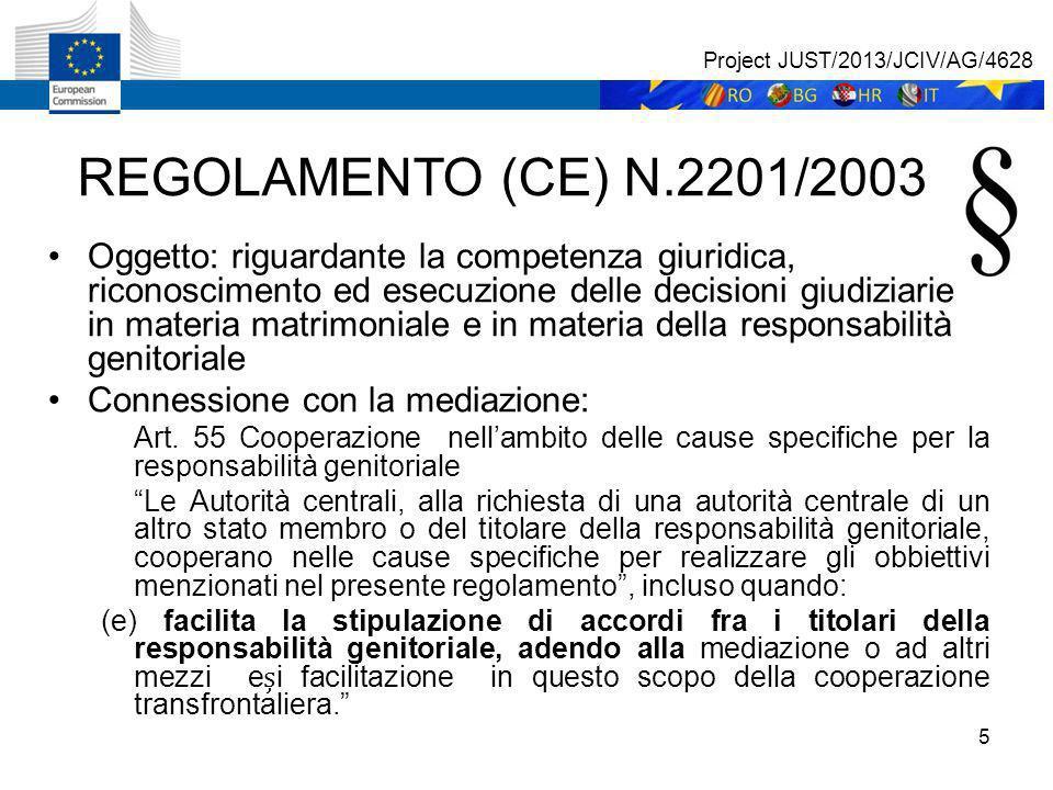5 REGOLAMENTO (CE) N.2201/2003 Oggetto: riguardante la competenza giuridica, riconoscimento ed esecuzione delle decisioni giudiziarie in materia matrimoniale e in materia della responsabilità genitoriale Connessione con la mediazione: Art.