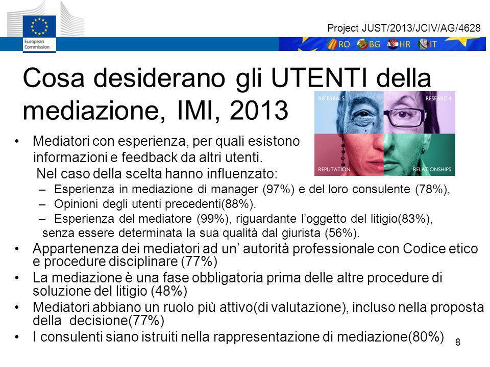 8 Cosa desiderano gli UTENTI della mediazione, IMI, 2013 Mediatori con esperienza, per quali esistono informazioni e feedback da altri utenti.