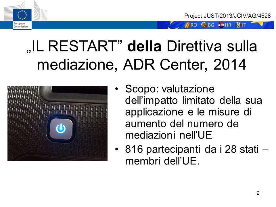 """9 """"IL RESTART della Direttiva sulla mediazione, ADR Center, 2014 Scopo: valutazione dell'impatto limitato della sua applicazione e le misure di aumento del numero de mediazioni nell'UE 816 partecipanti da i 28 stati – membri dell'UE."""