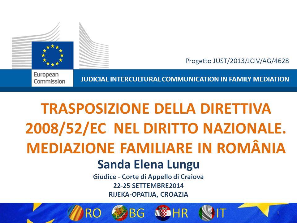 JUDICIAL INTERCULTURAL COMMUNICATION IN FAMILY MEDIATION Progetto JUST/2013/JCIV/AG/4628 TRASPOSIZIONE DELLA DIRETTIVA 2008/52/EC NEL DIRITTO NAZIONALE.