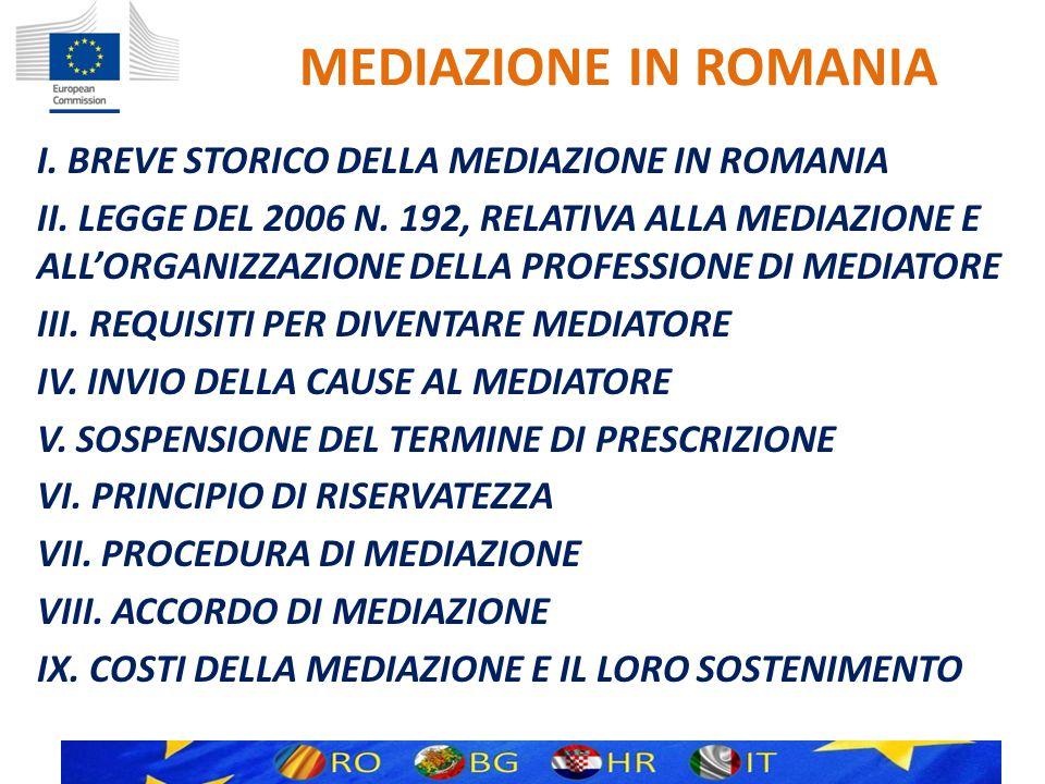 MEDIAZIONE IN ROMANIA I. BREVE STORICO DELLA MEDIAZIONE IN ROMANIA II.