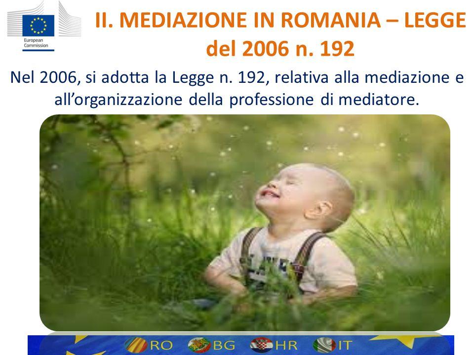 II. MEDIAZIONE IN ROMANIA – LEGGE del 2006 n. 192 Nel 2006, si adotta la Legge n.