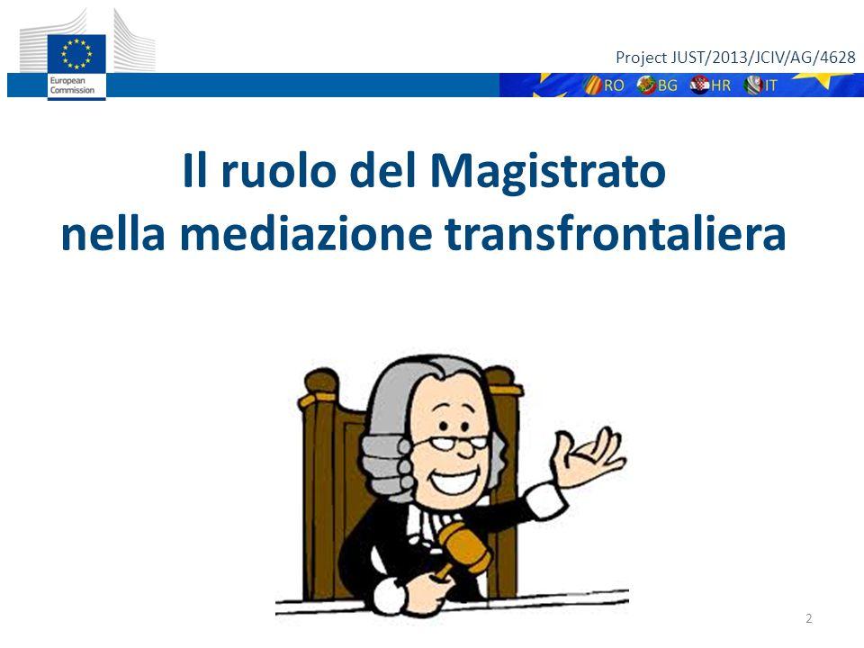 Project JUST/2013/JCIV/AG/4628 2 Il ruolo del Magistrato nella mediazione transfrontaliera