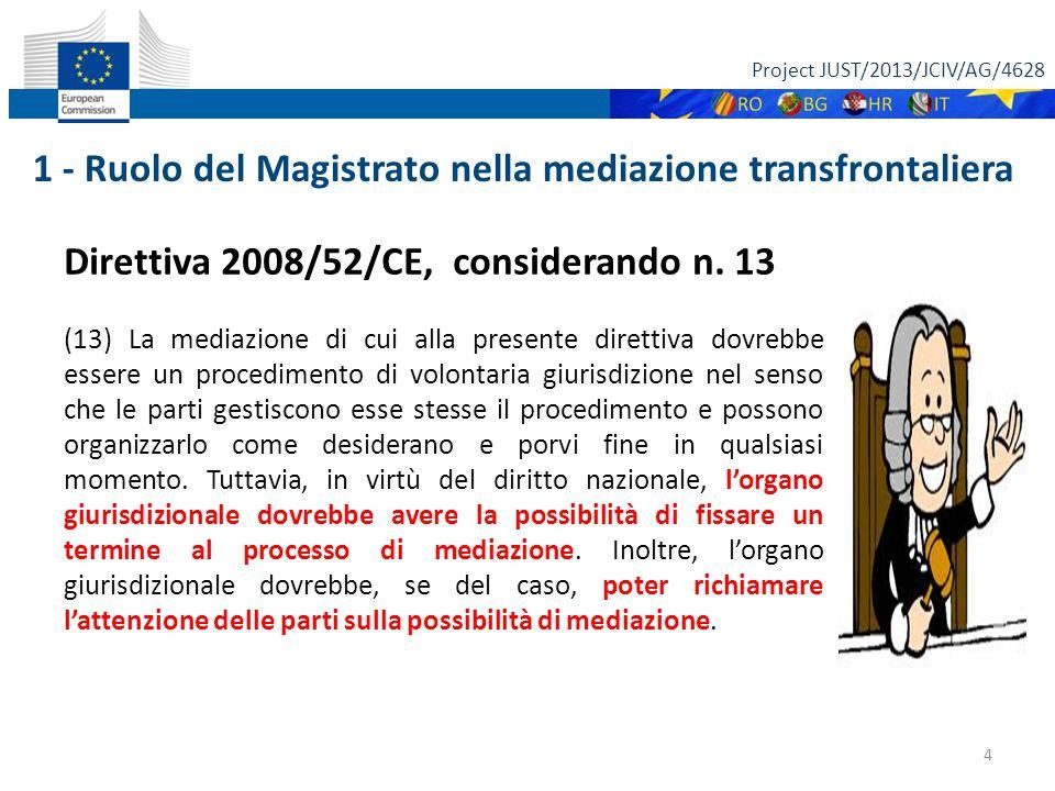 Project JUST/2013/JCIV/AG/4628 4 Direttiva 2008/52/CE, considerando n.