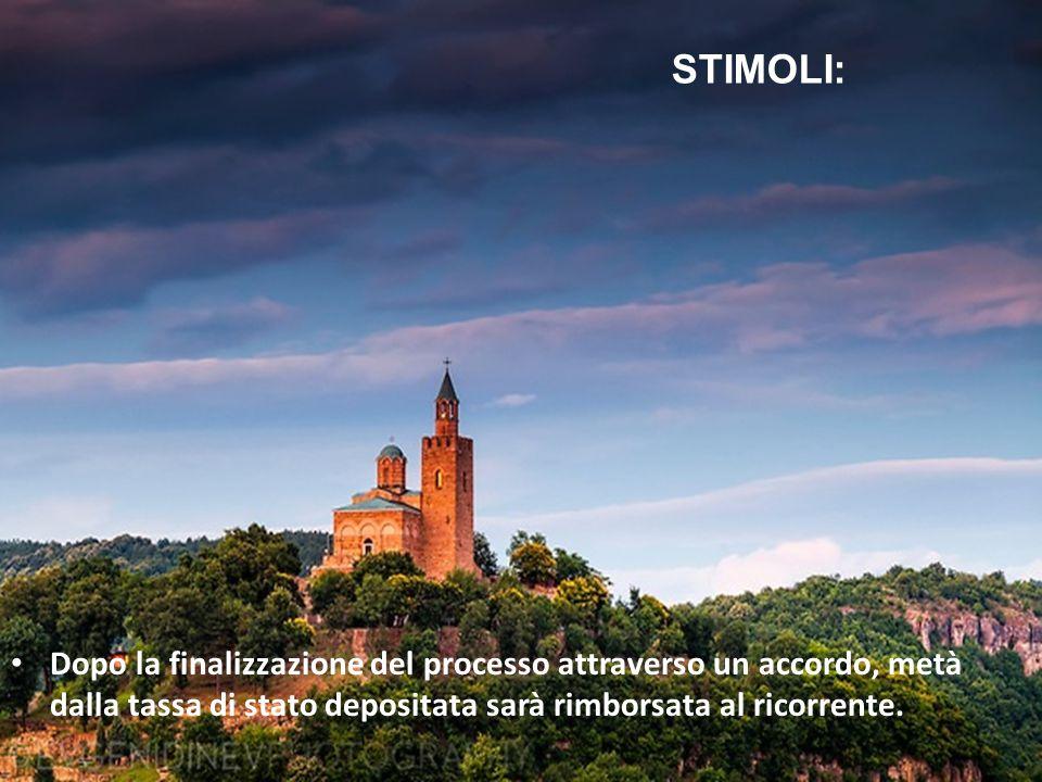 STIMOLI: Dopo la finalizzazione del processo attraverso un accordo, metà dalla tassa di stato depositata sarà rimborsata al ricorrente.
