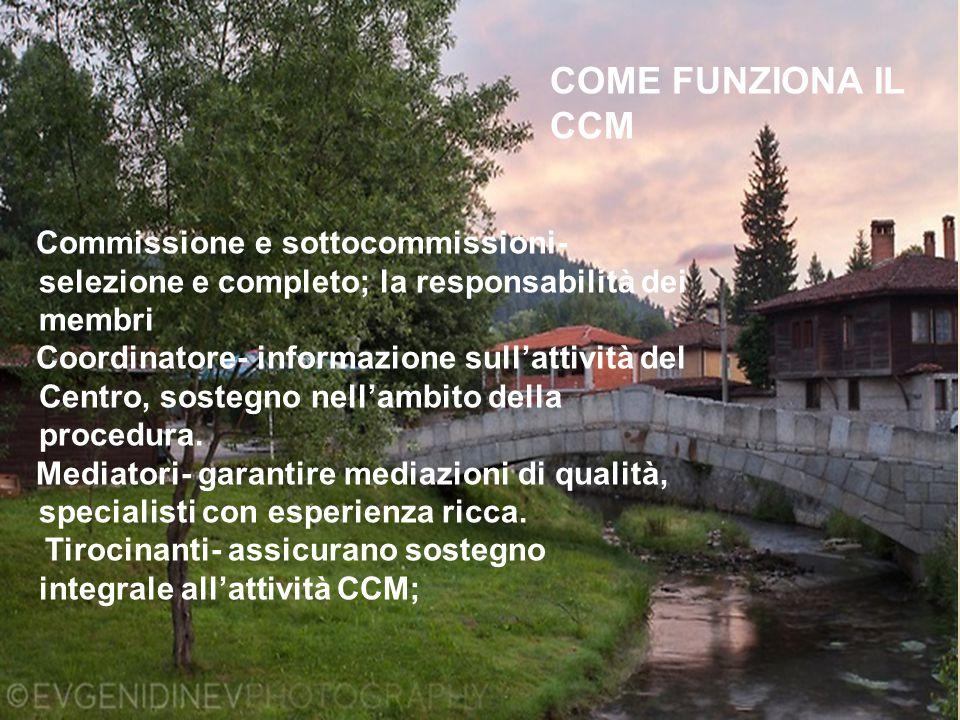 COME FUNZIONA IL CCM Commissione e sottocommissioni- selezione e completo; la responsabilità dei membri Coordinatore- informazione sull'attività del Centro, sostegno nell'ambito della procedura.