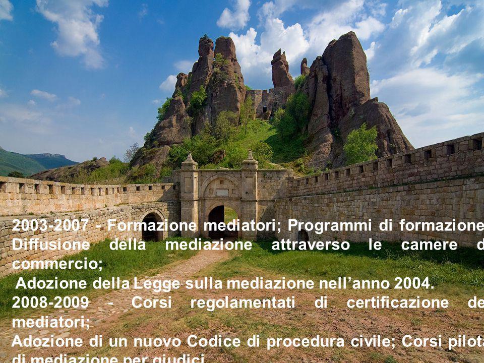 2003-2007 - Formazione mediatori; Programmi di formazione; Diffusione della mediazione attraverso le camere di commercio; Adozione della Legge sulla mediazione nell'anno 2004.