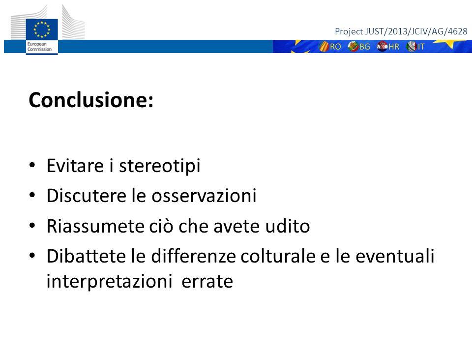 Conclusione: Evitare i stereotipi Discutere le osservazioni Riassumete ciò che avete udito Dibattete le differenze colturale e le eventuali interpretazioni errate Project JUST/2013/JCIV/AG/4628