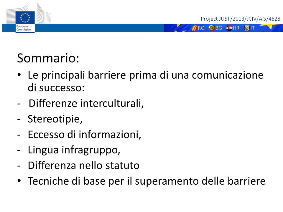 Sommario: Le principali barriere prima di una comunicazione di successo: - Differenze interculturali, -Stereotipie, -Eccesso di informazioni, -Lingua infragruppo, -Differenza nello statuto Tecniche di base per il superamento delle barriere Project JUST/2013/JCIV/AG/4628