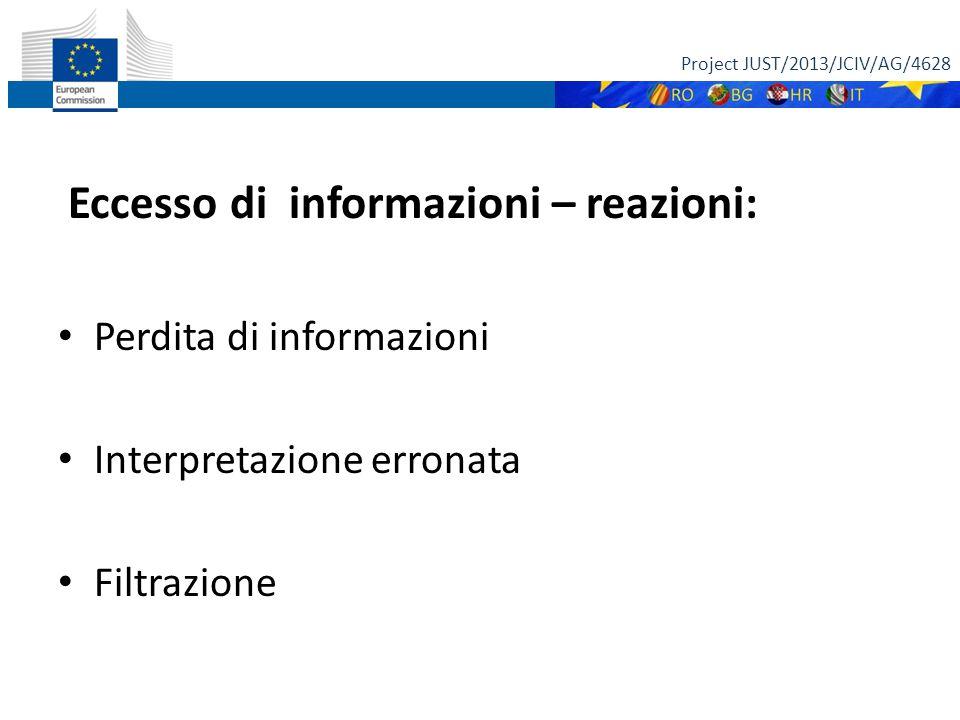 Eccesso di informazioni – reazioni: Perdita di informazioni Interpretazione erronata Filtrazione Project JUST/2013/JCIV/AG/4628