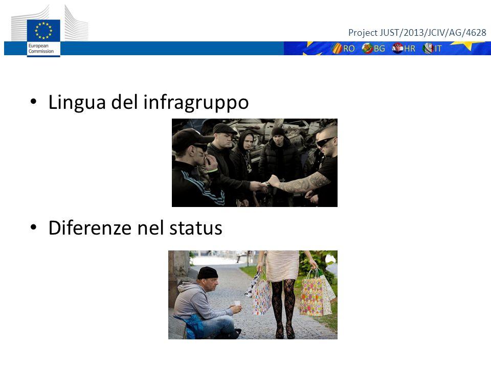 Lingua del infragruppo Diferenze nel status Project JUST/2013/JCIV/AG/4628