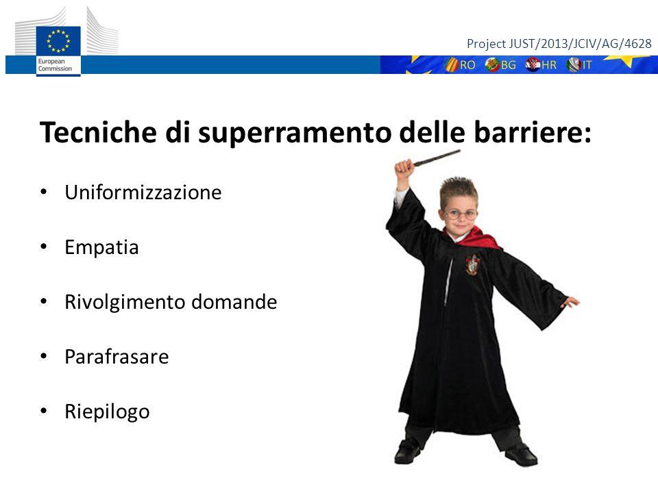 Tecniche di superramento delle barriere: Uniformizzazione Empatia Rivolgimento domande Parafrasare Riepilogo Project JUST/2013/JCIV/AG/4628