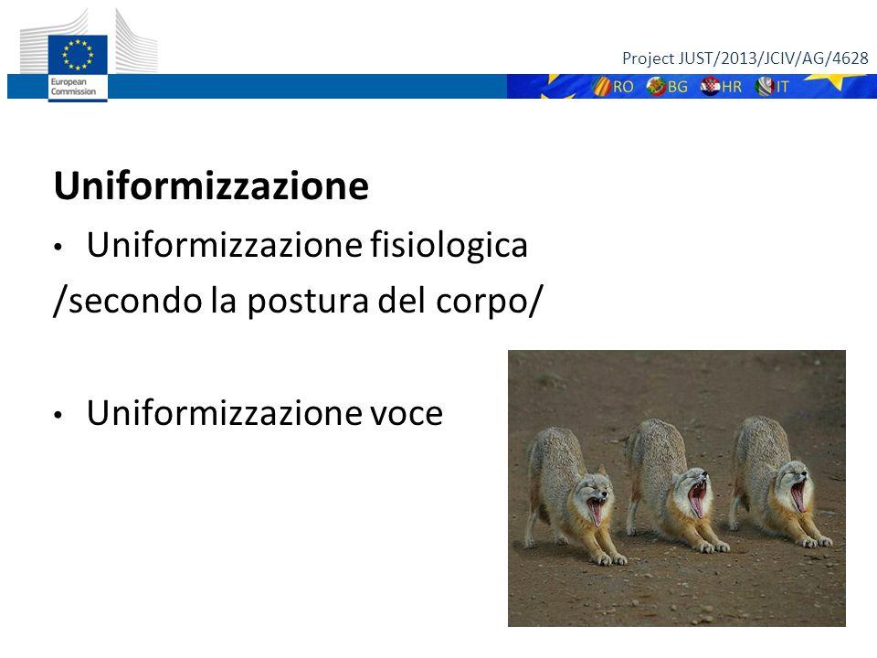 Uniformizzazione Uniformizzazione fisiologica /secondo la postura del corpo/ Uniformizzazione voce Project JUST/2013/JCIV/AG/4628