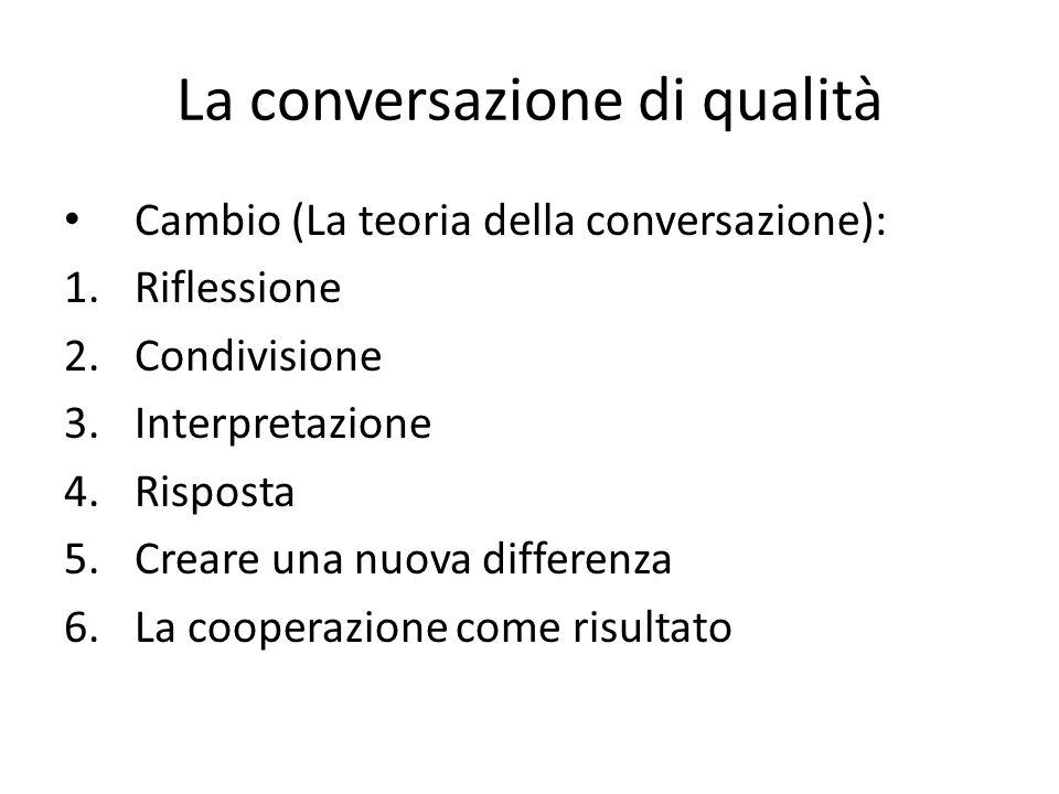 La conversazione di qualità Cambio (La teoria della conversazione): 1.Riflessione 2.Condivisione 3.Interpretazione 4.Risposta 5.Creare una nuova differenza 6.La cooperazione come risultato