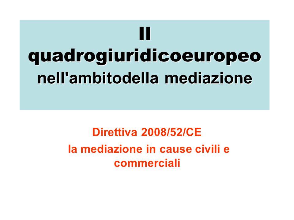 La mediazione in cause civili e commerciali le regolecomuniTramite la direttiva 2008/52/CE si stabiliscono le regole comuni riguardando certi aspetti della mediazione in cause civili e commerciali nello scopo del aumento della sicurezza giuridica e, in conformità, la stimolazione dell uso della mediazione per la risoluzione delle liti.