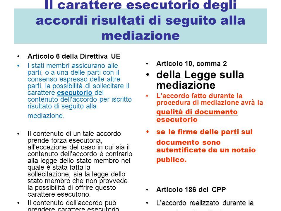 Il carattere esecutorio degli accordi risultati di seguito alla mediazione Articolo 6 della Direttiva UE I stati membri assicurano alle parti, o a una