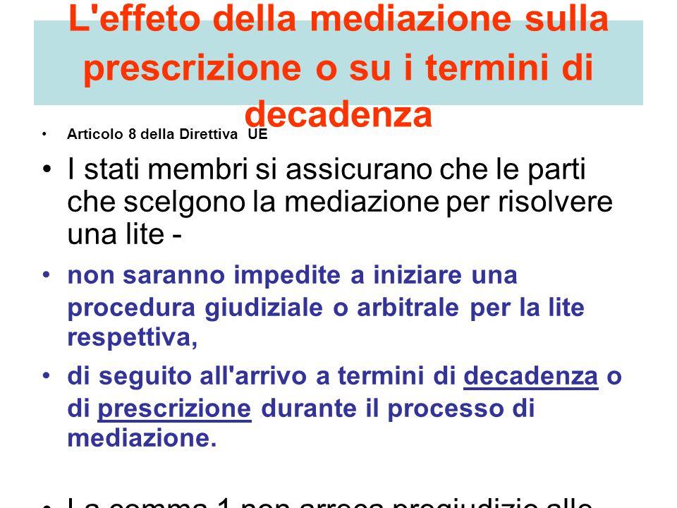 L'effeto della mediazione sulla prescrizione o su i termini di decadenza Articolo 8 della Direttiva UE I stati membri si assicurano che le parti che s