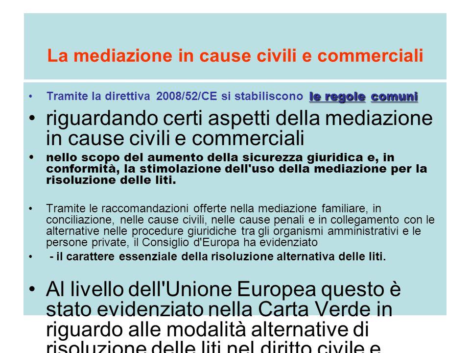 La mediazione in cause civili e commerciali le regolecomuniTramite la direttiva 2008/52/CE si stabiliscono le regole comuni riguardando certi aspetti