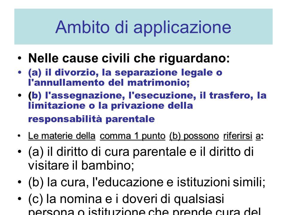 Ambito di applicazione Nelle cause civili che riguardano: (a) il divorzio, la separazione legale o l'annullamento del matrimonio; (b) l'assegnazione,