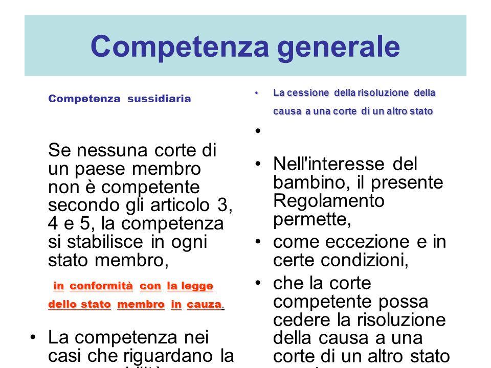 Competenza generale Competenza sussidiaria Se nessuna corte di un paese membro non è competente secondo gli articolo 3, 4 e 5, la competenza si stabilisce in ogni stato membro, inconformitàconla legge dello statomembroincauza.